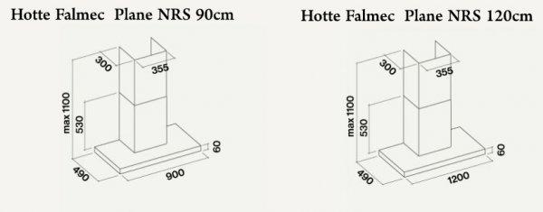 Schéma encastrement hotte Falmec plane NRS