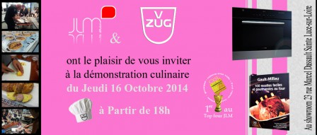 Invitation à la demonstration culinaire V-Zug du 16 octobre 2014